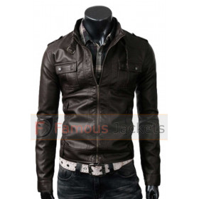 Strap Pocket Slim Fit Dark Brown Jacket