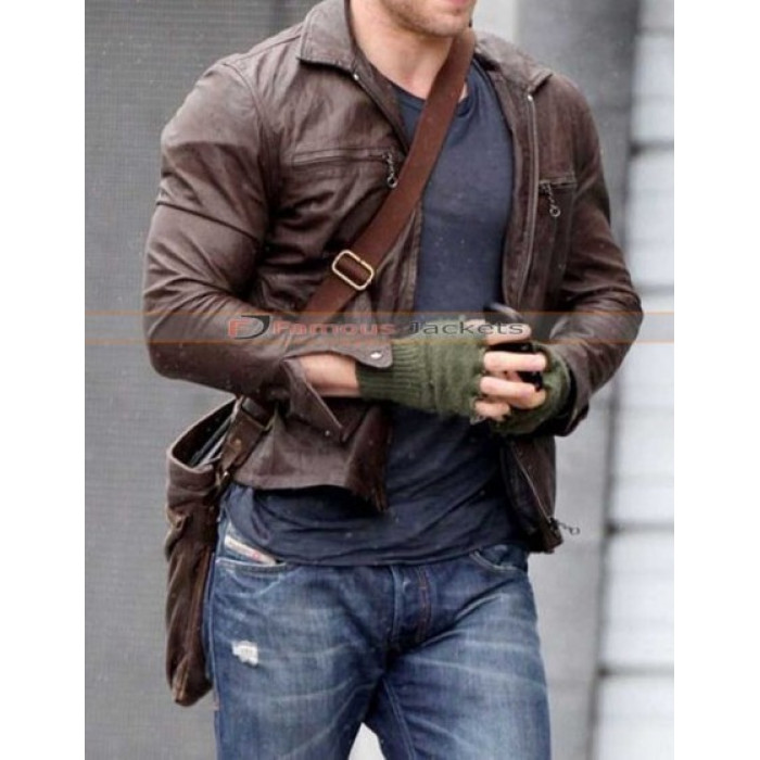 Kellan Lutz Brown Leather Jacket