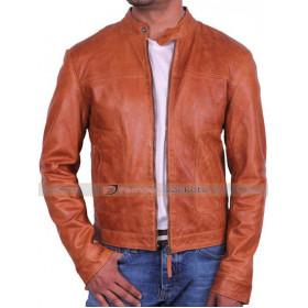Mens Designer Brown Leather Jacket