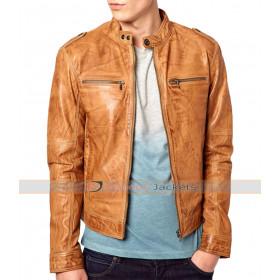 Slim Fit Distressed Brown Biker Jacket