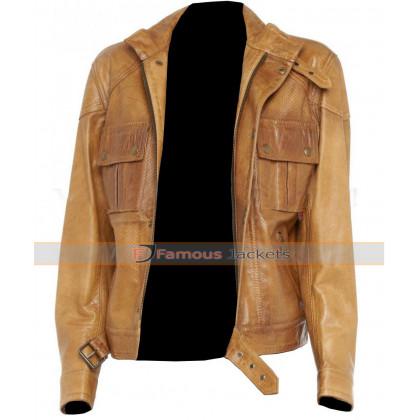 Belted Slim Fit Strap Biker Leather Jacket