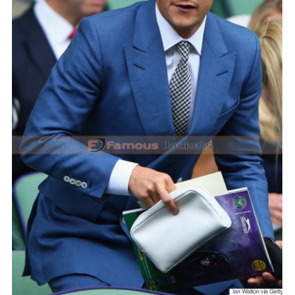 Bear Grylls Blue Suit at Wimbledon 2015