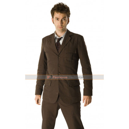 David Tennant Doctor Who Pinstripe Brown Suit