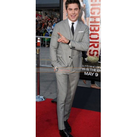 Neighbors Premiere Zac Efron Three Piece Grey Suit