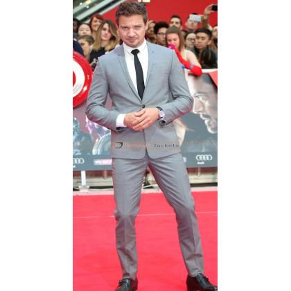 Captain America Civil War Premiere Jeremy Renner Grey Suit
