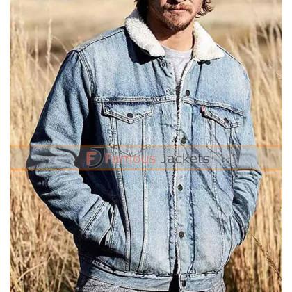 Yellowstone Kayce Dutton Fur Denim Jacket