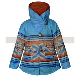 Yellowstone Kelly Reilly Fleece Blue Hooded Coat
