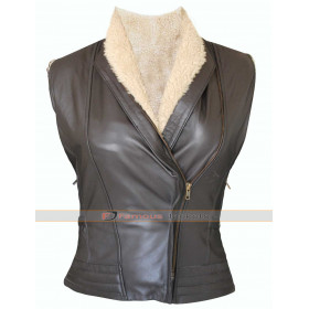 The Walking Dead Laurie Holden (Andrea Harrison) Fur Leather Vest