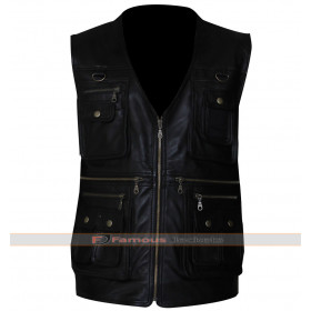 Front Pocket Black Mens Biker Leather Vest