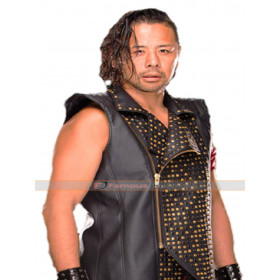 WWE Wrestler Shinsuke Nakamura Black Leather Vest