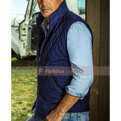 Yellowstone John Dutton outfit's Blue Quilted Vest