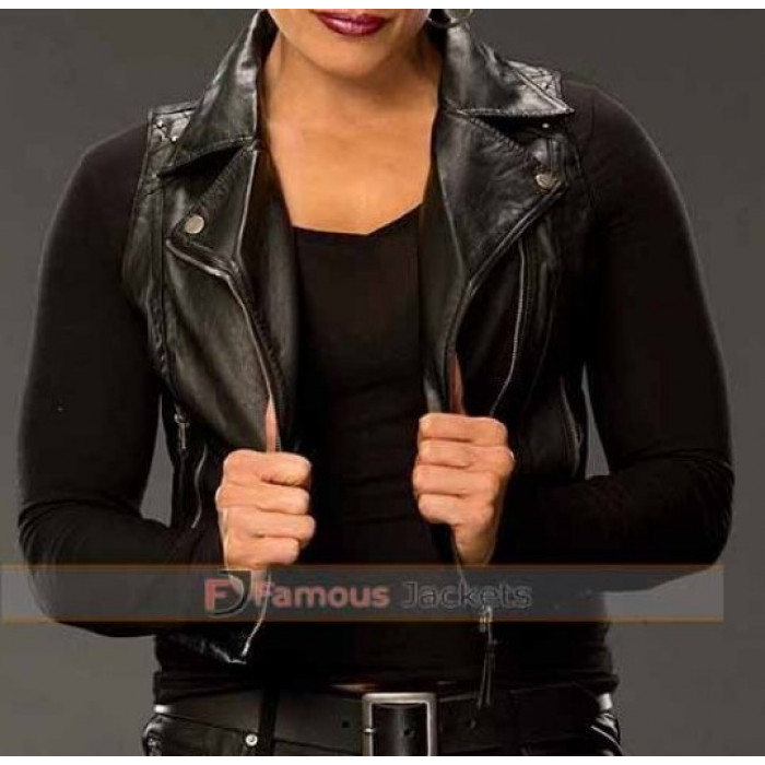dirt cheap official store new images of WWE Tamina Black Sleeveless Leather Jacket Vest