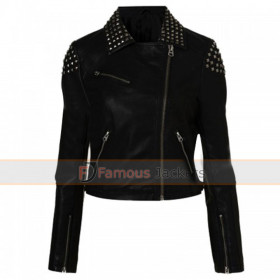 Paige Black Studded Biker Style Leather Jacket WWE