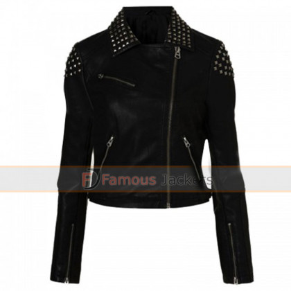 Paige Black Studded Biker Style Leather Jacket WWE