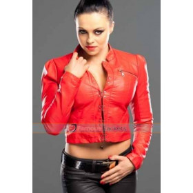 WWE Diva Aksana Real Leather Red Jacket UK