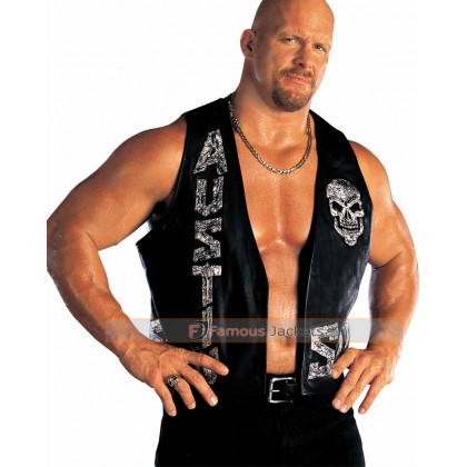 Replica Stone Cold Steve Austin Skull Motorcycle Leather Vest UK