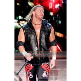 WWE Curt Hawkins Hooded Black Leather Vest