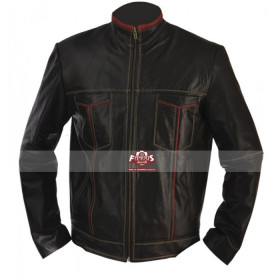 Black Cafe Racer Motorcycle Leather Jacket