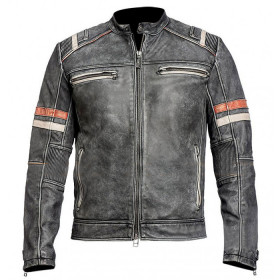 Men's Cafe Racer Retro Distressed Leather Jacket