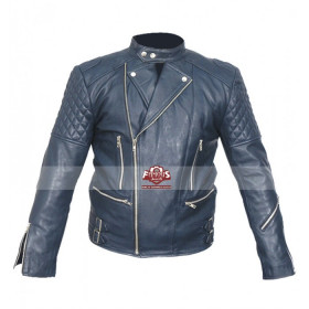 Classic Brando Motorcycle Blue Leather Jacket