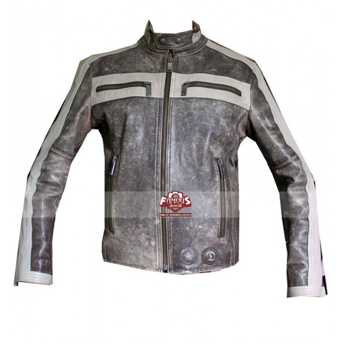 Grey Bomber Motorcycle Leather Jacket for Men/Women