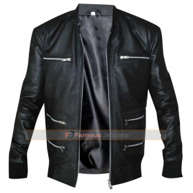 Mens Eminem Black Biker Leather Jacket