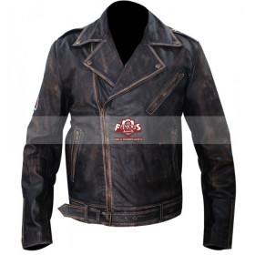 Johnny Depp Biker Green Distressed Leather Jacket