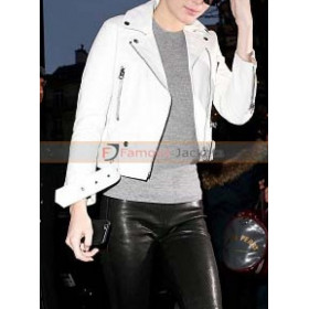 Kendall Jenner Acne Studios Biker White Leather Jacket