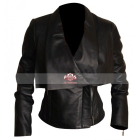Ladies Draped Collar Black Motorcycle Leather Jacket