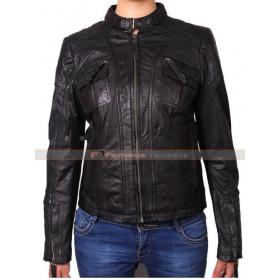 Ladies Real Leather Black Motorcycle Jacket UK