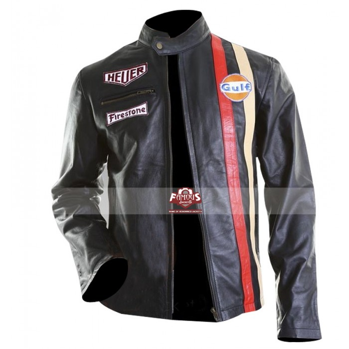 better official photos latest trends Vintage Le Mans Steve McQueen Black Leather Jacket