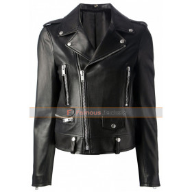 Mariah Carey Black Motorcycle Style Leather Jacket