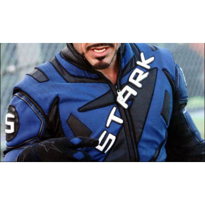Tony Stark Iron Man 2 Motorcycle Blue Leather Jacket