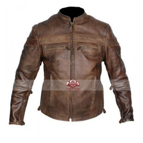 Mens Vintage Cafe Racer Motorcycle Brown Leather Jacket