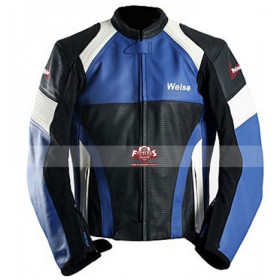 Weise Cyclone Blue, Black & White Motorcycle Leather Jacket