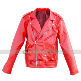 Unisex Punk Leather Skin Red Brando Belted Jacket