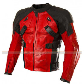 Deadpool Armor Style Biker Leather Jacket