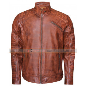 Biker Men's Vintage Classic Fashion Brown Jacket
