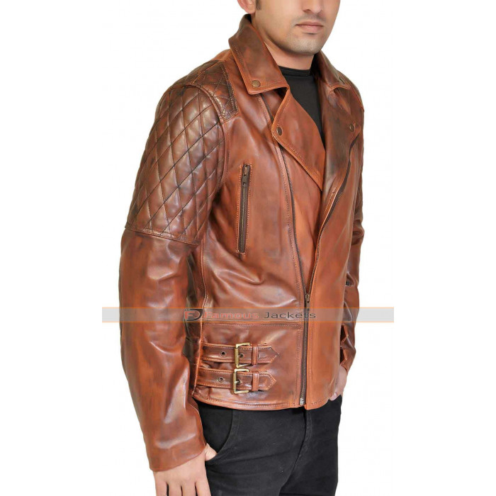 Quilted Brown Leather Motorcycle Jacket