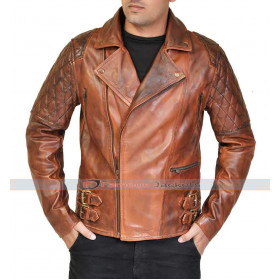 Rustic Quilted Brown Leather Motorcycle Jacket