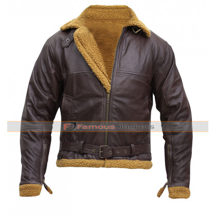 B3 Mens Sheepskin Shearling Bomber Leather Jacket