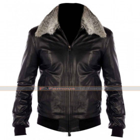 Fur Collar Black Nappa Bomber Leather Jacket