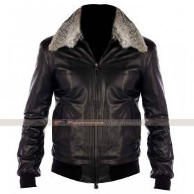 Fur Collar Black Nappa Bomber Leather Jacket