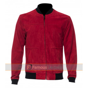 Justin Bieber Red Suede Leather Bomber Jacket