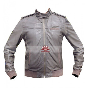 Men Grey Slim Fit Bomber Motorcycle Jacket