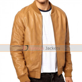 Men's Ribbed Collar Slimfit Bomber Jacket