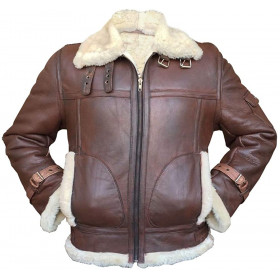 Raf Military Oufits Aviator Fur Shearling Flying Black & Brown Leather Bomber Jackets