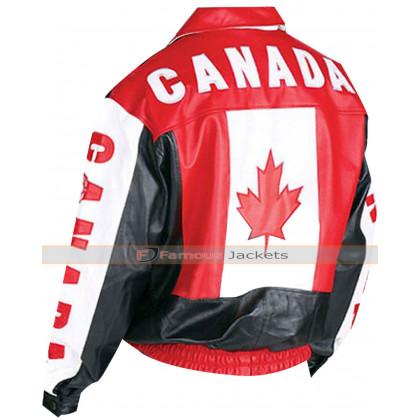Canadian Flag Bomber Leather Jacket