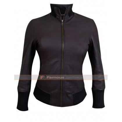 Emma Swan Brown Bomber Lambskin Leather Jacket