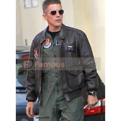 Good Kill Ethan Hawke Pilot Bomber Leather Jacket